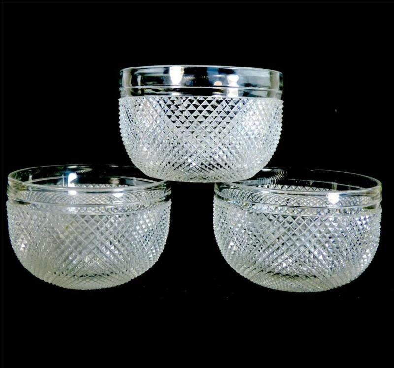 THREE FINELY CUT ANTIQUE GLASS FINGER BOWLS RINSERS ANGLO IRISH