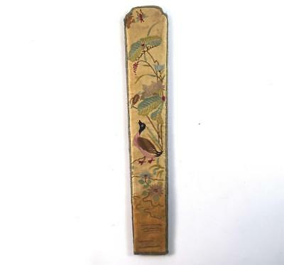 ANTIQUE CHINESE QING DYNASTY SILK FAN HOLDER CASE EMBROIDERY b