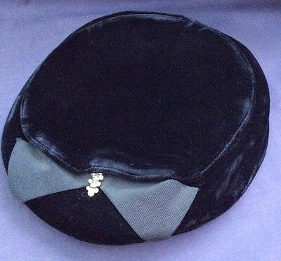 Vintage Black Velvet Woman's Hat with Rhinestones and Bow - Nice