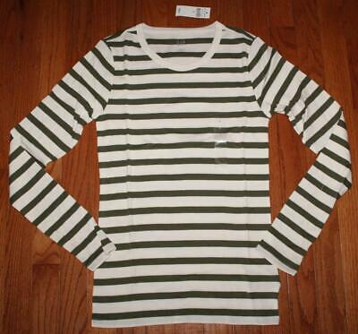 NEW NWT Womens GAP Long Sleeve Crewneck T-Shirt FAVORITE Tee Green Stripe *W8