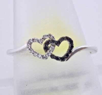 - 14K WHITE GOLD DIAMOND TWO PERFECT  HEART PROMISE ENGAGEMENT LOVE RING