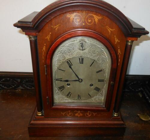pretty mahogany inlaid hac westminster bracket clock c1900s