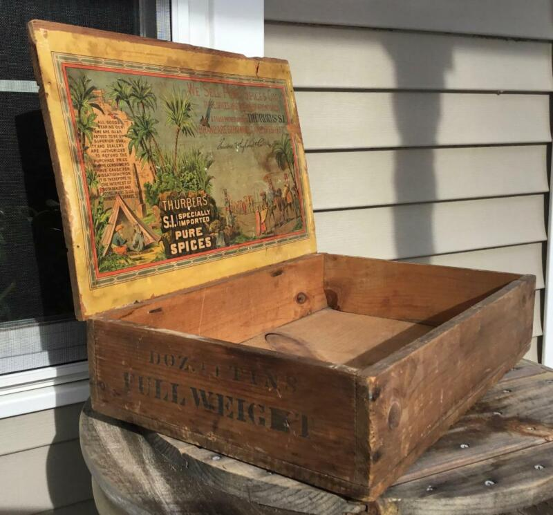 Antique Thurber Whyland Co Specially Imported Spices Wood Store Counter Display