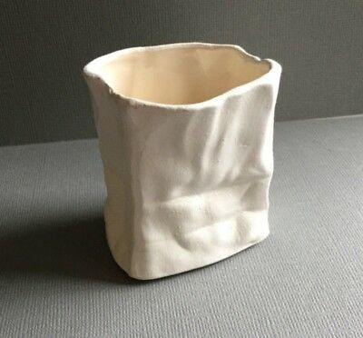"Small Retro Vintage White Paper Bag Shaped Porcelain Pottery Vessel - 2 3/8"""