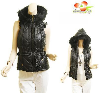 Fur Ruffle - BK Outerwear Quilt Faux Fur Ruffle Trim Puffy Puffer Ski Hoodie Jacket Vest Coat