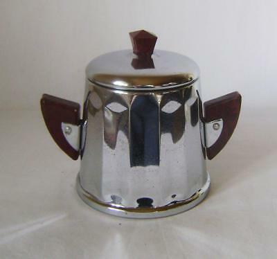 Vintage Chrome Plated & Bakelite Sugar Bowl & Lid C.1930s / 50s: French