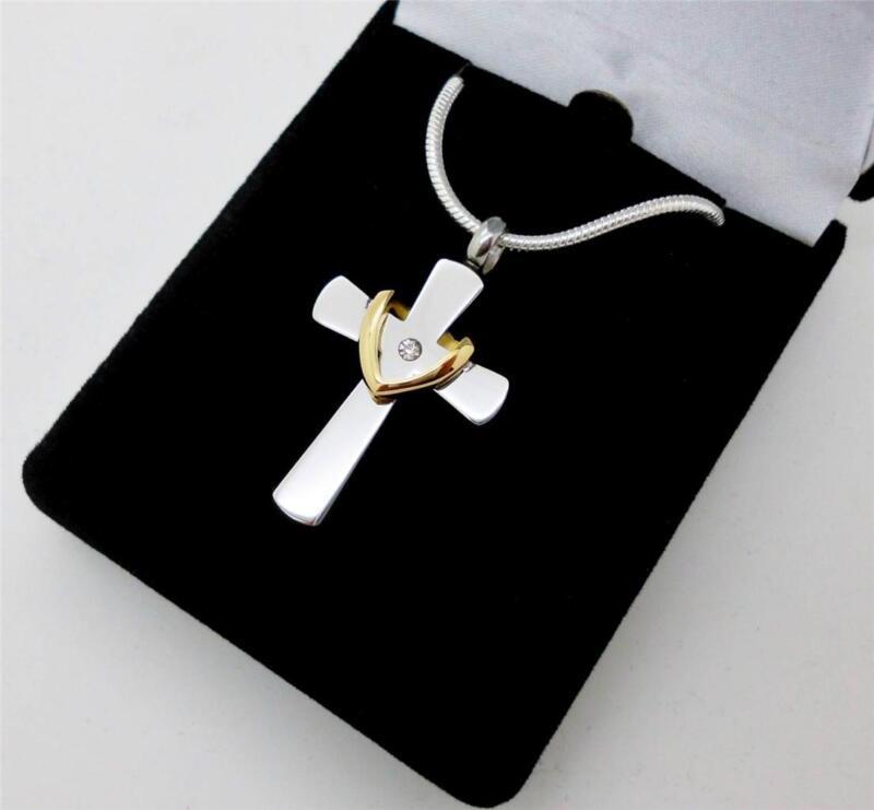 Silver Cross & Gold Wreath Memorial Keepsake Cremation Urn Jewellery Pendant NIB