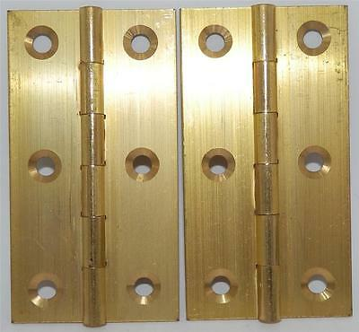 """PAIR of SOLID BRASS BUTT HINGES 3"""" or 75mm INCLUDES SCREWS"""