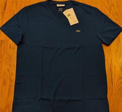 Mens Authentic Lacoste Pima Cotton V-Neck T-Shirt Electric Blue 6 (XL) $49