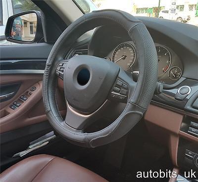 Genuine Black Leather Car/Van Steering Wheel Cover Glove - Real Leather