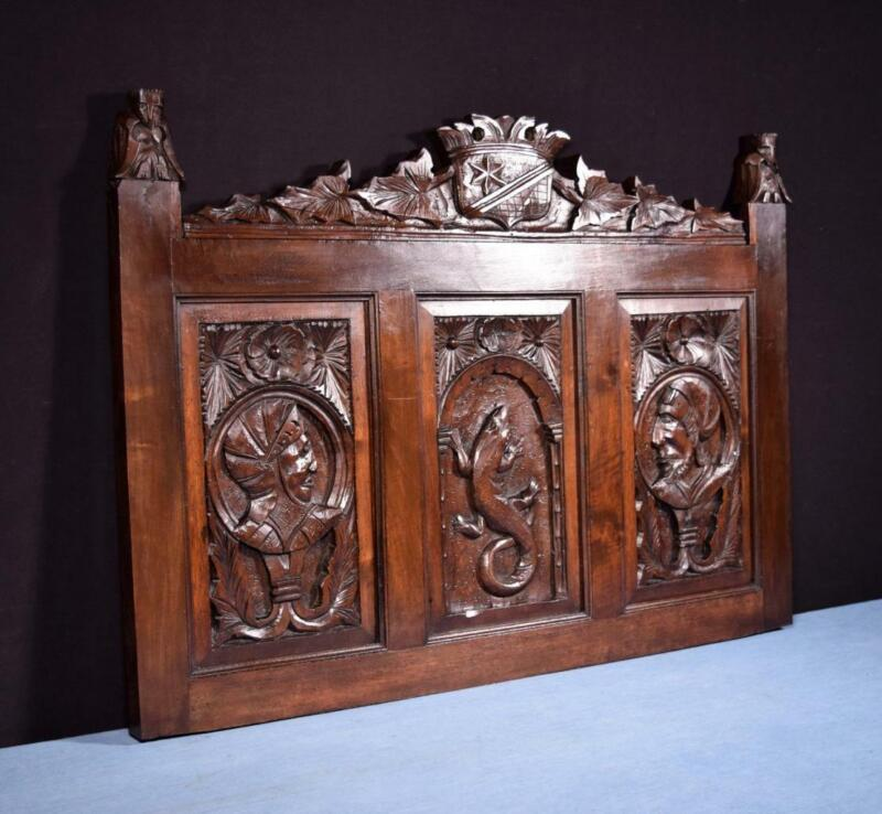 *Large Antique French Gothic Revival Panel in Solid Walnut Wood Highly Carved