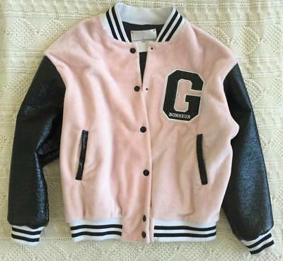 GAELLE BONHEUR Womens Light-Pink Faux-Fur + Black G Varsity Bomber Jacket L NEW