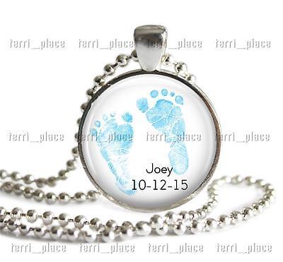 Custom New Baby Boy Feet Glass Pendant & Chain Personalized Jewelry Name & Date Baby Boy Jewelry