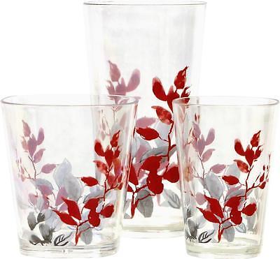 4 Corelle KYOTO LEAVES Acrylic DRINKWARE Beverage Glass *CHOOSE: 19, 14 or (Acrylic Beverage Glass)
