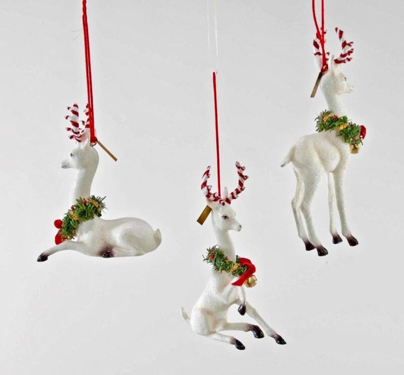 Katherine's Collection - Christmas Reindeer Ornaments S3 - White - 28-828397