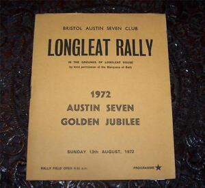 1972-BRISTOL-AUSTIN-SEVEN-CAR-CLUB-Programme-LONGLEAT-RALLY-List-Of-Entries