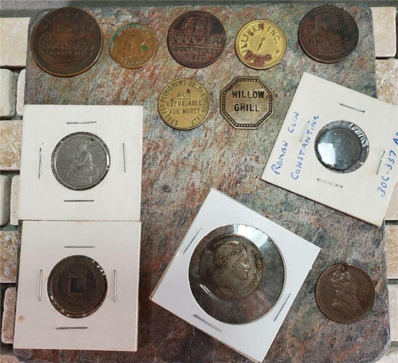 Mixed Lot of 12 ~ Tokens ~ World Coins ~ Ancient ~ Peep Show ~ Advertisements