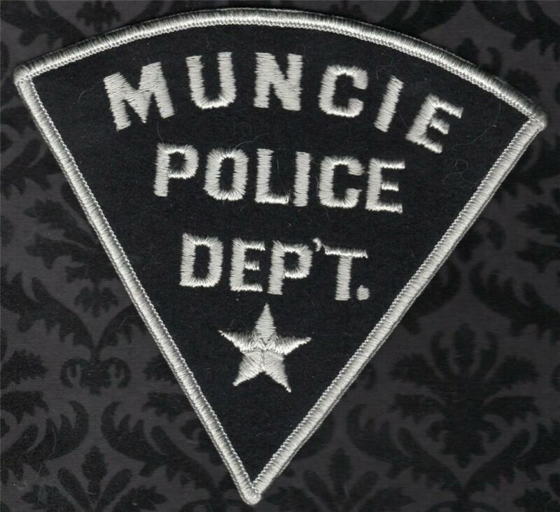 Muncie Indiana Police Shoulder Patch Grey Black Felt Design