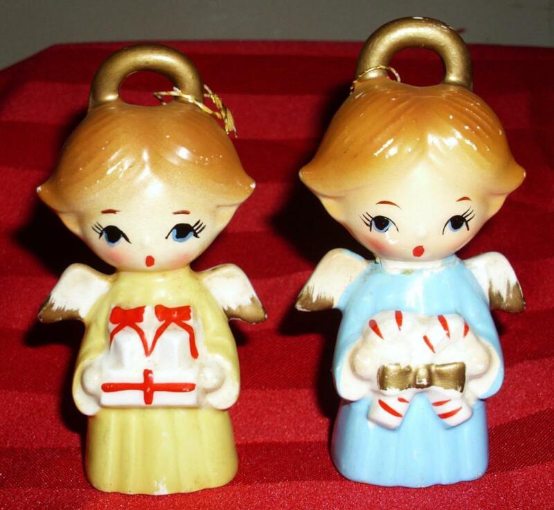 "VTG LOT 2 4"" CERAMIC ANGEL FIGURINES CHRISTMAS TREE ORNAMENTS JAPAN"