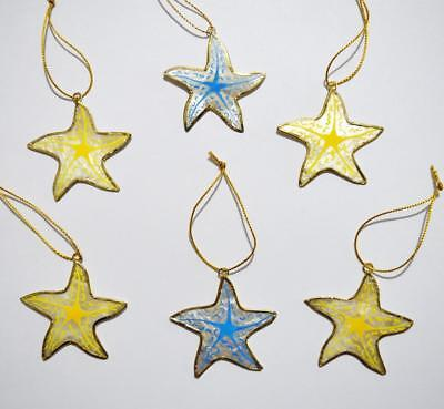Starfish Christmas Ornaments (SET OF 6 HAND-PAINTED CAPIZ SHELL STARFISH CHRISTMAS)