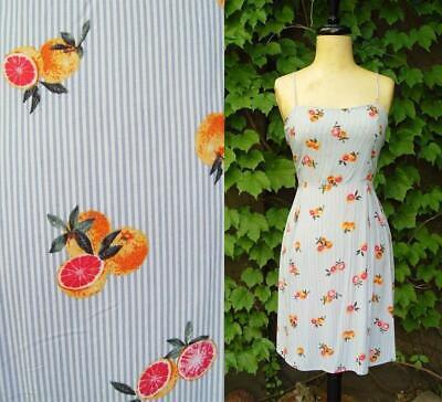 Grapefruit Fruit Print Pin Stripe Blue White Bow Tie Back Sun 297 mv Dress S M L