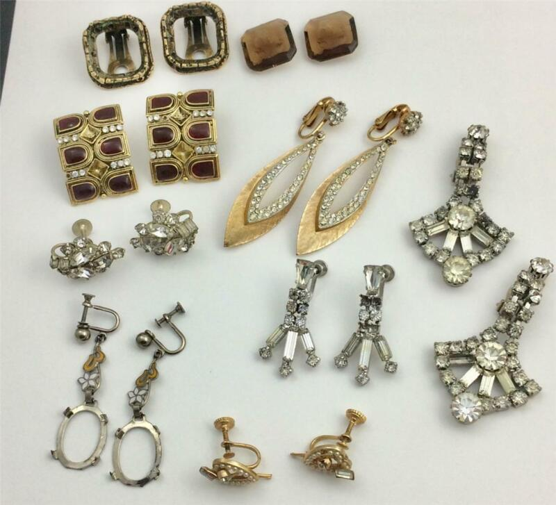 Vintage Lot 7 Assorted Earring Pairs Lot for Repair, Crafts, Jewelry Making