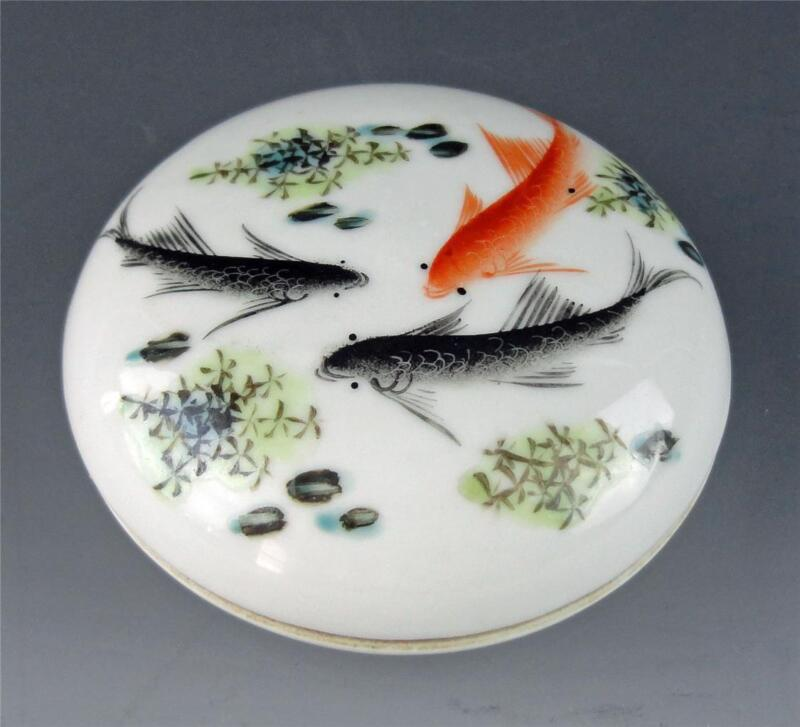 Chinese Republic Period Porcelain Ink Paste Box w Lid Fish Pound Motif