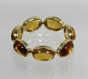 14k Yellow Gold Madeira Citrine Cabochon Eternity Band Ring Size 6 QVC
