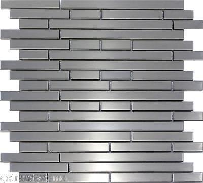 10 SF - Stainless Steel Metal Interlocking Mosaic TIle Kitchen Backsplash Bath