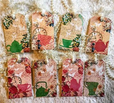 Set of 8 Hang Tags~Shabby Tea Party~Gift Tags~Scrapbook~Card Making~Crafts~#172