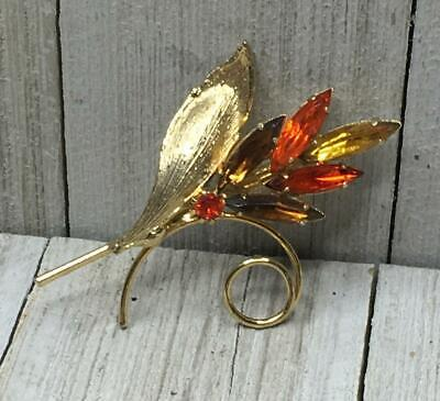 Vintage Gold Tone Yellow Orange Brown Autumn Fall Colored Floral Brooch -