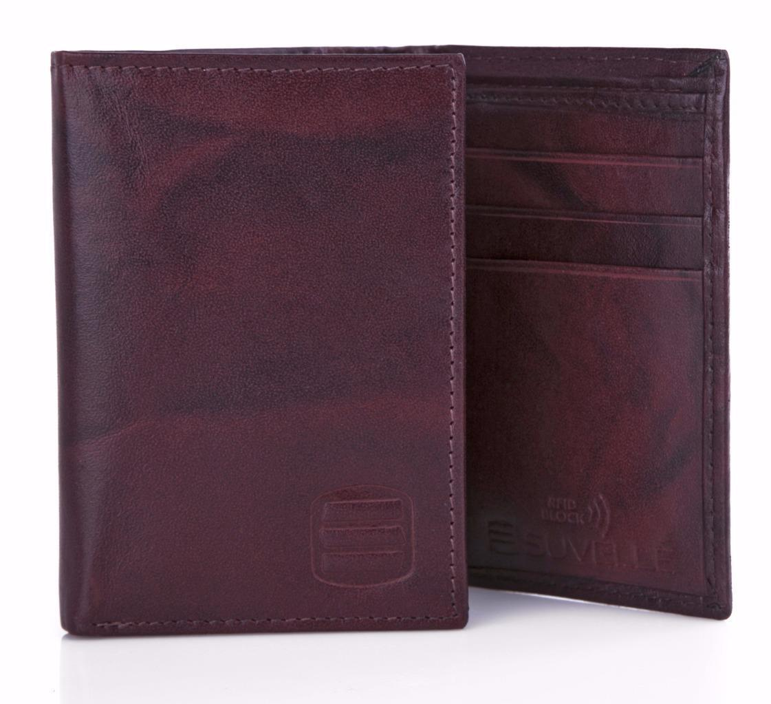 Suvelle Trifold Men's Genuine Leather RFID Wallets, Slim Tra