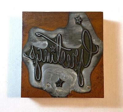 Vintage Greetings Letterpress Printing Block Metal On Wood 2.5 X 2.25