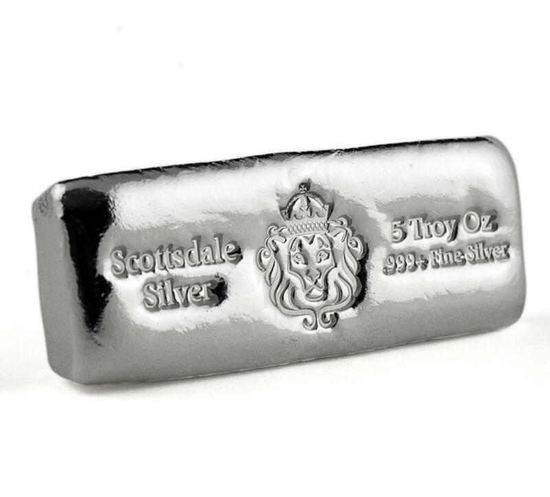 5 oz Scottsdale Silver CAST Bullion Bar .999+ Silver Bar #A398