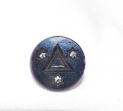 Victorian Black Glass Button Pressed Triangle Star Studs for Antique Clothing