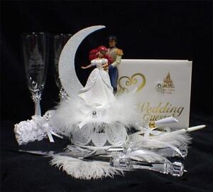 disney little mermaid prince fairytale wedding cake topper lot glasses server. Black Bedroom Furniture Sets. Home Design Ideas