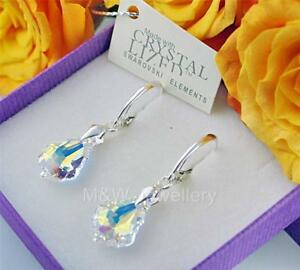 925 Sterling Silver Earrings Crystals From Swarovski® BAROQUE Crystal AB 16mm