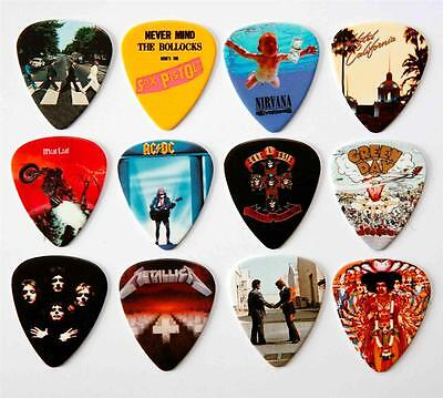 Famous Album Covers Guitar Picks Packet of 12 Different Plectrums