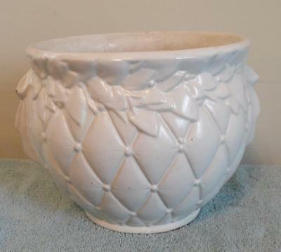 McCoy Pottery Planter Jardiniere Ivory White Quilted Diamond Leaf Large