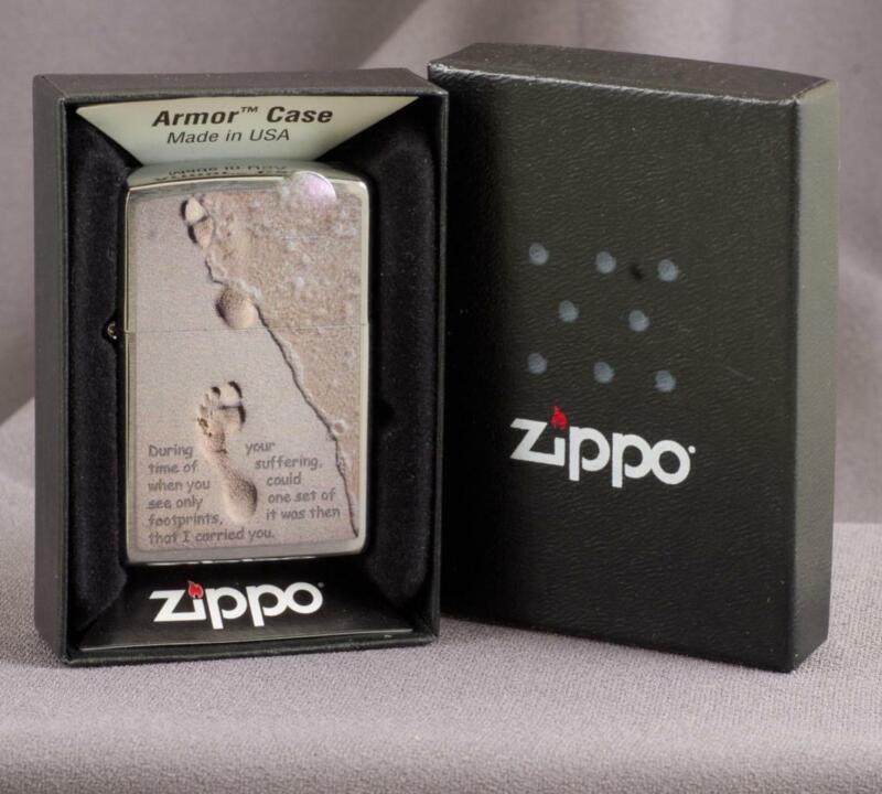 SCARCE ZIPPO: FOOTPRINTS  -DATE CODE E-23 2010~  MINT IN BOX  REF: 3421H