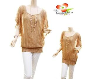 Women-PLUS-Taupe-Sheer-Royal-Scroll-Laced-Tunic-Blouse-Shirt-Top-Necklace-Jew