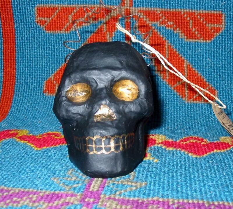 Cody Foster Halloween Tiny Black Skull Paper Mache Jack O