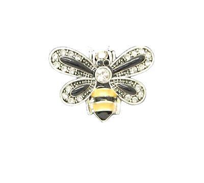 Black Yellow Bumble Bee - Bumble Bee Black Yellow Crystal Charm Only Jewelry Assembly Beads Craft Supplies