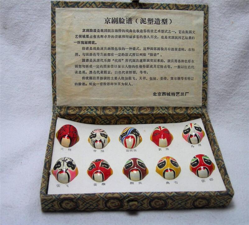 Vintage Set of Painted Asian Faces Masks