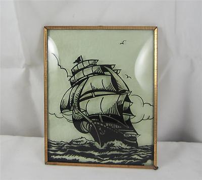 Vintage Silhouette Reverse Painted Bubble Glass Couple Sail Boat Ship 4