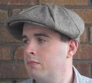 EDWARDIAN-PEAKY-BLINDERS-GANGSTER-NEWS-BOY-GATSBY-BROWN-TWEED-MARL-FLAT-CAP-HAT