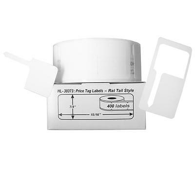 2 Rolls Of 400 Pricetag Labels Rat Tail Style For Dymo Labelwriter 30373