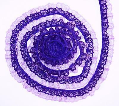 Purple on Lavender~DOUBLE Ruffle 2 Inch Candlewick Lace Trim