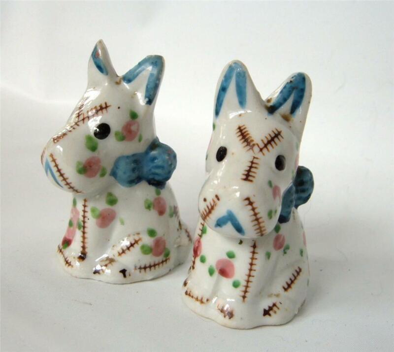 Vintage Calico Dog Ceramic Salt And Pepper Shakers Japan Scottie Blue White Pink
