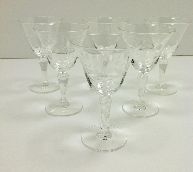 VINTAGE/ANTIQUE Cut/Etched Crystal Wine-Sherry-Wheat and Dot Design Set of 6 2oz